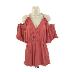 Topshop Pink Shoulder Peek Beach Cover Up Romper